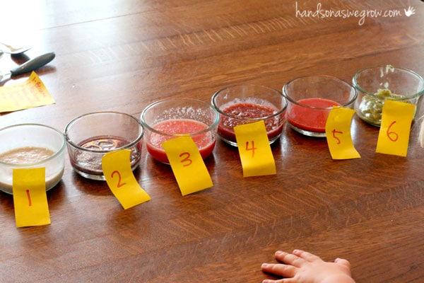 Set up for a simple taste test for kids