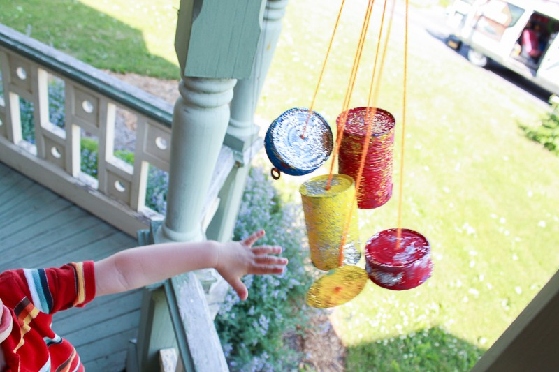We love to tap our wind chimes to hear the pretty sounds!