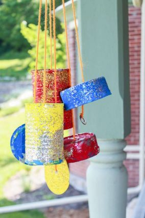 Tin can wind chimes to make with the kids