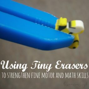 Using Tiny Erasers to Promote Fine Motor and Math Skills from Fun-A-Day!