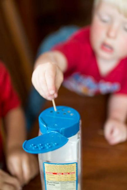 Using toothpicks to help child improve their fine motor skills