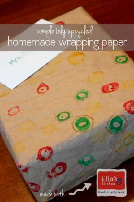 Completely upcycled homemade wrapping paper for kids to make