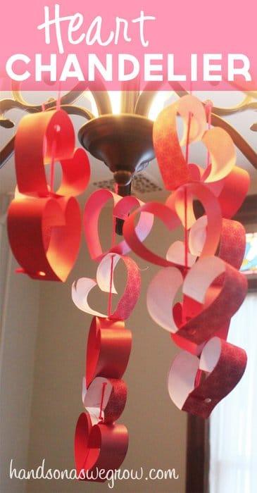 Valentine Craft for Kids: Strings of Hearts Chandelier