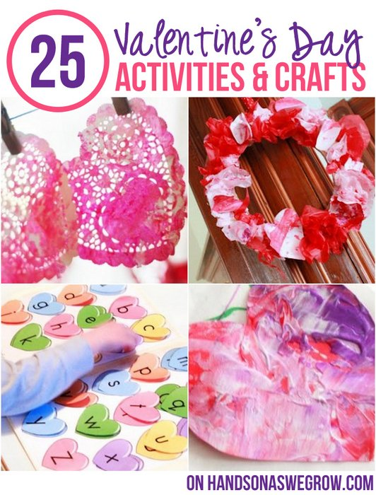 25 valentine 39 s activities crafts for kids hands on as for Valentines day art and crafts for preschoolers