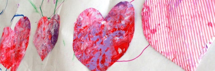 Valentine\'s Day Art: Shaken Painted Hearts | Hands On As We Grow