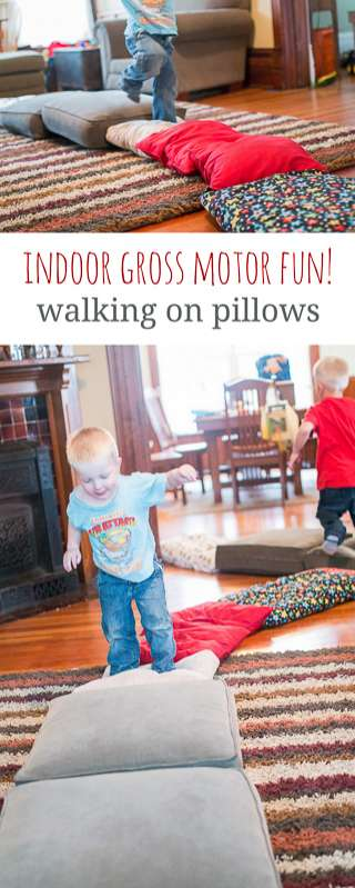 Gross motor activity for a rainy day walking on pillows for Indoor gross motor activities