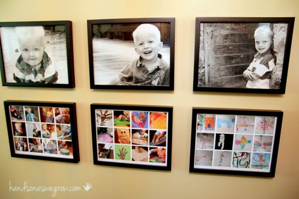 Wall of artwork to display all the kids artwork from school and home, and snapshots too
