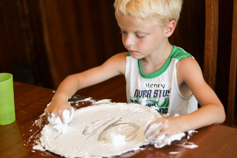 Write spelling words in shaving cream - one of 21 ways to practice spelling words!