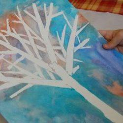 Tape resist winter tree art