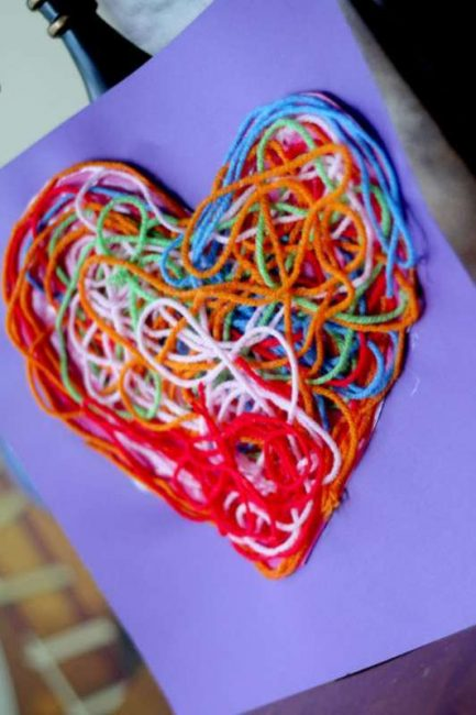 You'll love showing off your fun textured yarn heart craft!