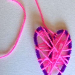 Yarn wrapped hearts